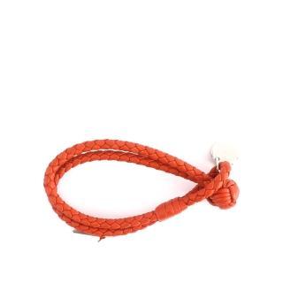 【BOTTEGA VENETA】小羊皮雙圈編織手環 S(夕陽橘色)
