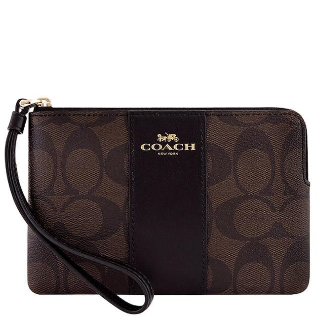 【COACH】大C PVC手拿包-巧克力色(買就送璀璨水晶觸控筆)