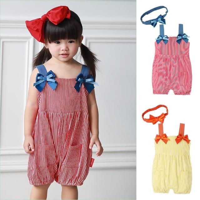 【baby童衣】經典條紋吊帶燈籠連身衣 附髮帶 60203(共2色)
