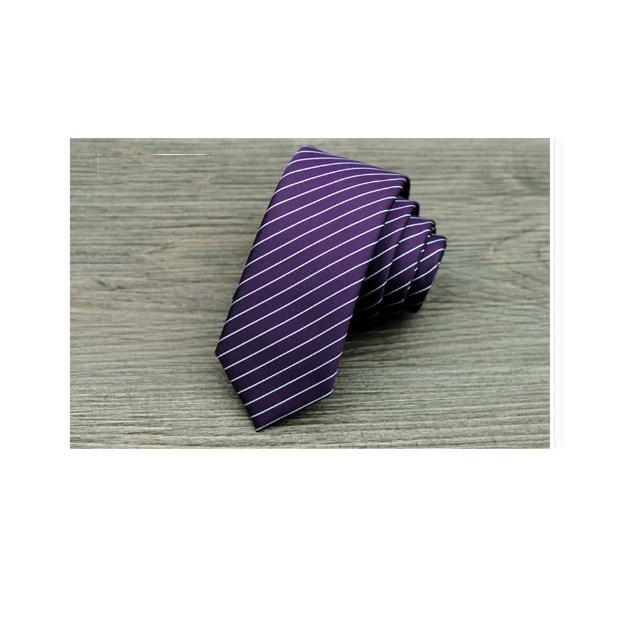 【拉福】領帶窄版領帶5.5cm防水領帶拉鍊領帶(紫)