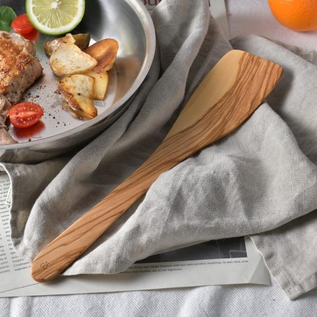 【丹麥 Scanwood】橄欖木鍋鏟 30cm(長鏟 木鏟)