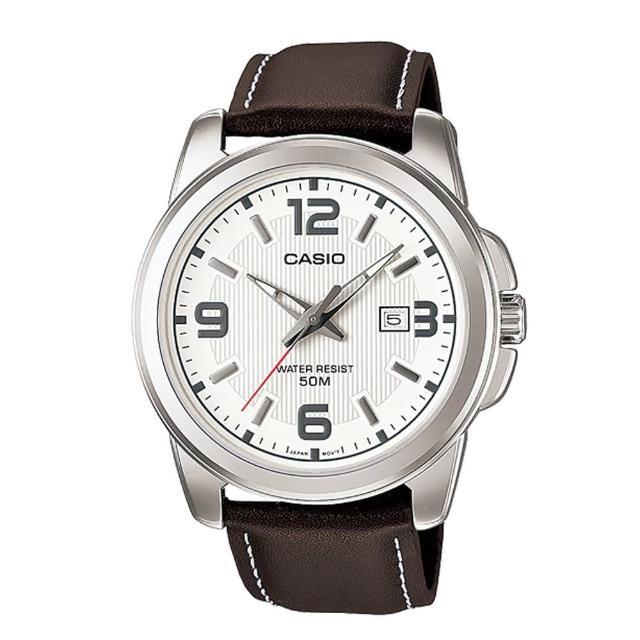 【CASIO】專業時尚紳士真皮腕錶(MTP-1314L-7A)