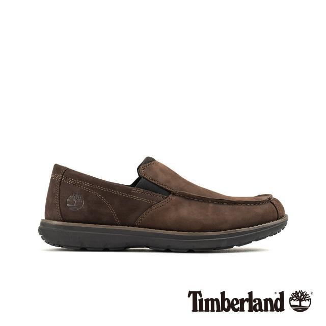 【Timberland】男款深咖啡絨面防滑皮革方頭便鞋