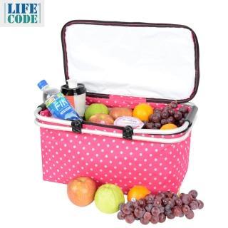【LIFECODE】點點風-鋁合金折疊保冰袋/野餐提籃(桃紅色)