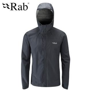 【英國 RAB】Downpour Jacket 高透氣連帽防水外套 男款 黑 #QWF61(高透氣連帽防水外套)