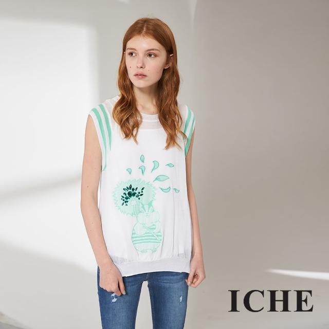 【ICHE 衣哲】時尚印花百搭不規則造型上衣 兩色