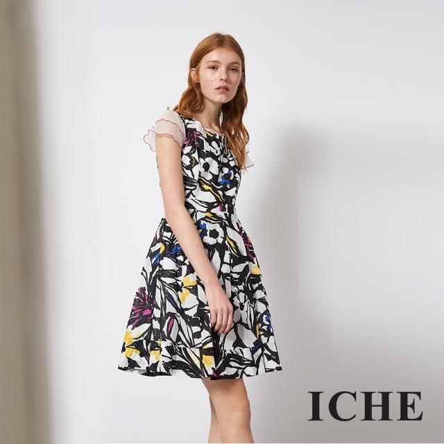 【ICHE 衣哲】荷葉袖時尚花卉印花拼接造型禮服洋裝
