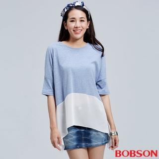 【BOBSON】女款短袖落肩雪紡紗上衣(26076-54)