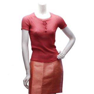 【LV】蝴蝶結X小花鈕釦設計真絲短袖針織上衣(櫻桃紅-S-KS16MHQ-534)
