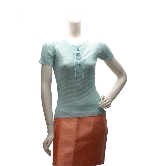 【LV】蝴蝶結X小花鈕釦設計真絲短袖針織上衣(蘋果綠-SKS16MHQ-233)
