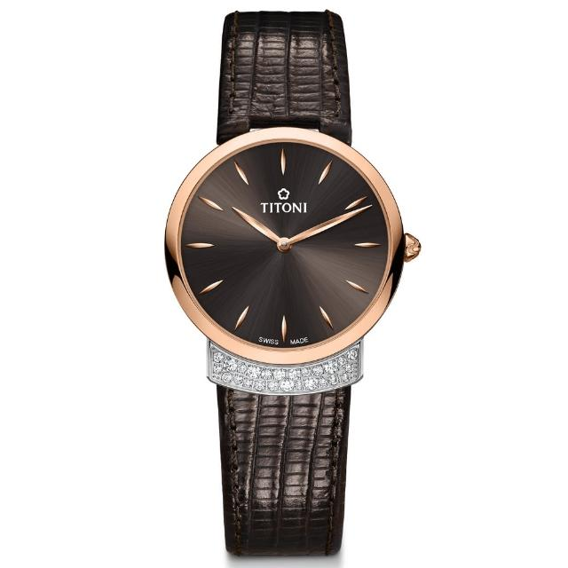 【TITONI 瑞士梅花錶】MADEMOISELLE 優雅伊人系列-晶碳黑色錶盤深咖啡色牛皮帶/32mm(TQ 42912 SRG-ST-592)