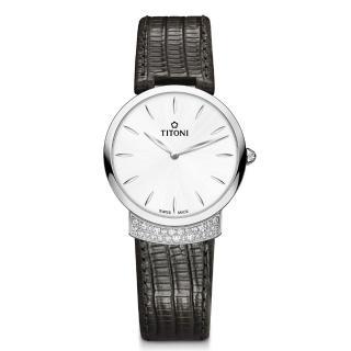 【TITONI 瑞士梅花錶】MADEMOISELLE 優雅伊人系列-銀白色錶盤黑色牛皮錶帶/32mm(TQ 42912 S-ST-590)