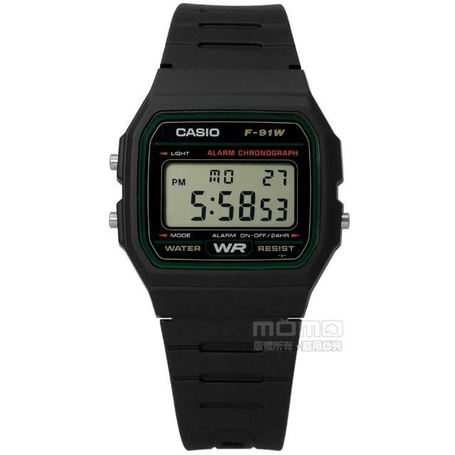 【CASIO 卡西歐】卡西歐方型復刻回歸計時電子橡膠手錶 黑色 32mm(F-91W-3DG)