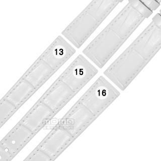 【Watchband】SEIKO LUKIA 精工 別緻鮮亮壓紋牛皮替用錶帶(白色)