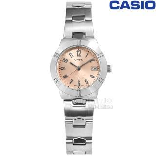 【CASIO 卡西歐】迷人魅力時尚高雅不鏽鋼手錶 粉橘色 25mm(LTP-1241D-4A3)