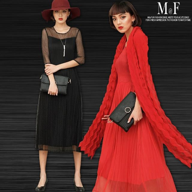 【M@F摺衣】網紗壓褶修身洋裝-F(黑/紅)