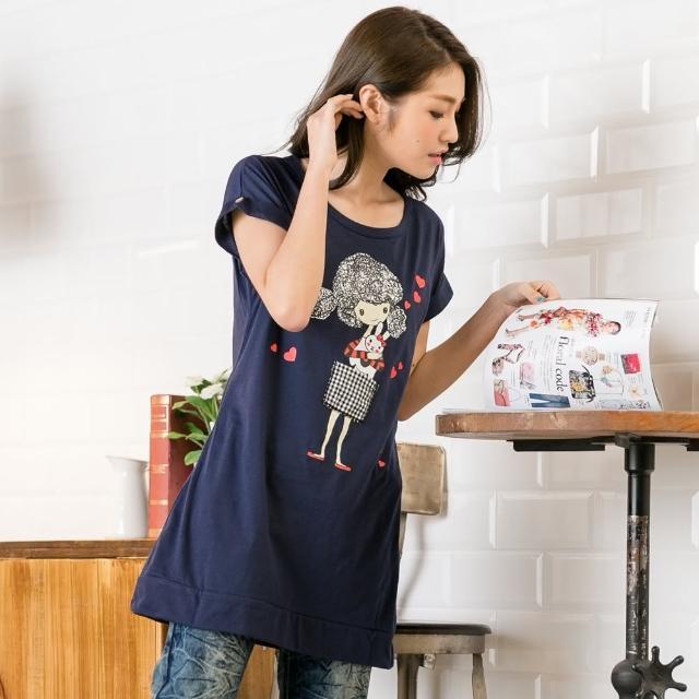 【衣心衣意中大尺碼】時尚女孩圖印寬鬆長版上衣(藍色-黃色FR4A3244)