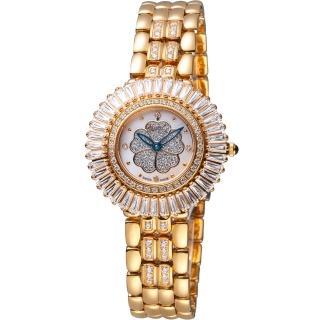 【Ogival  愛其華】炫麗山茶花系列珠寶錶(305-20DLR 玫瑰金色)