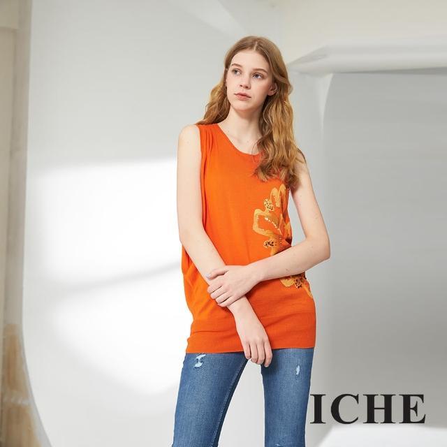 【ICHE 衣哲】印花釘珠不規則長版針織造型上衣