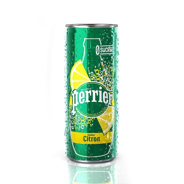 【法國Perrier】氣泡天然礦泉水 檸檬口味 鋁罐(330mlx24入)
