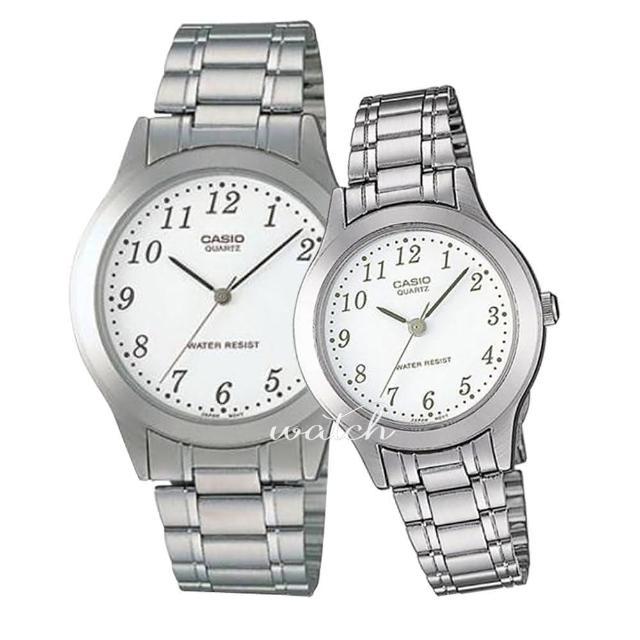 【CASIO 卡西歐 對錶系列】不鏽鋼錶帶 指針 情人對錶(MTP-1128A+LTP-1128A)