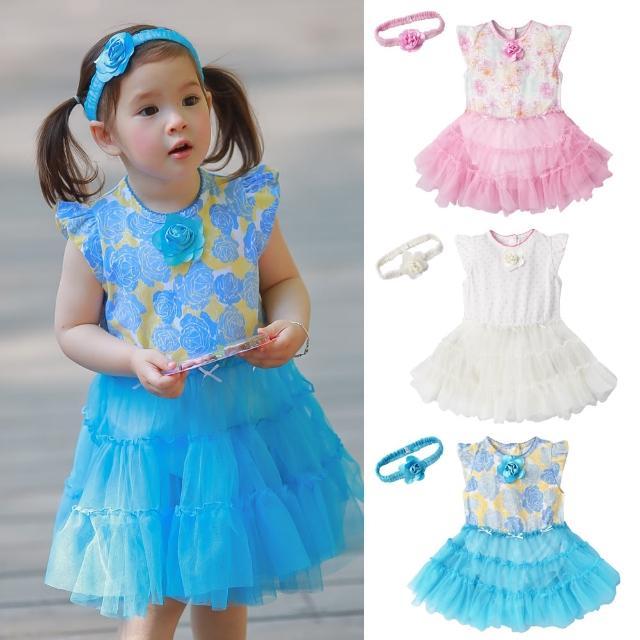 【baby童衣】公主玫瑰花紗紗包屁裙 附髮帶 60186(共3色)