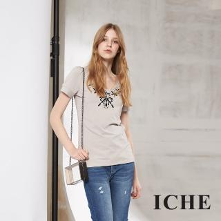 【ICHE 衣哲】百搭刺繡印花短袖造型T恤上衣 兩色