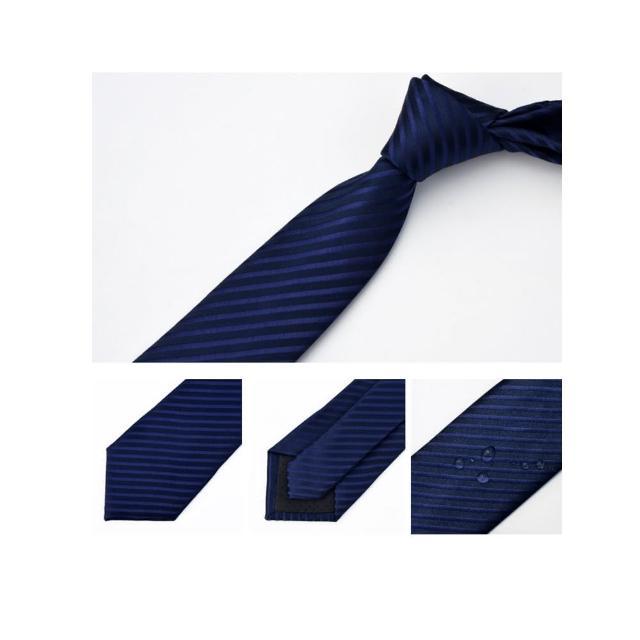 【拉福】領帶防水領帶7cm領帶拉鍊領帶(藍斜)