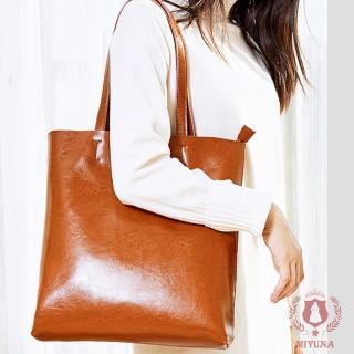 【MIYUNA】韓國簡約風格全真牛皮托特包(復古棕)