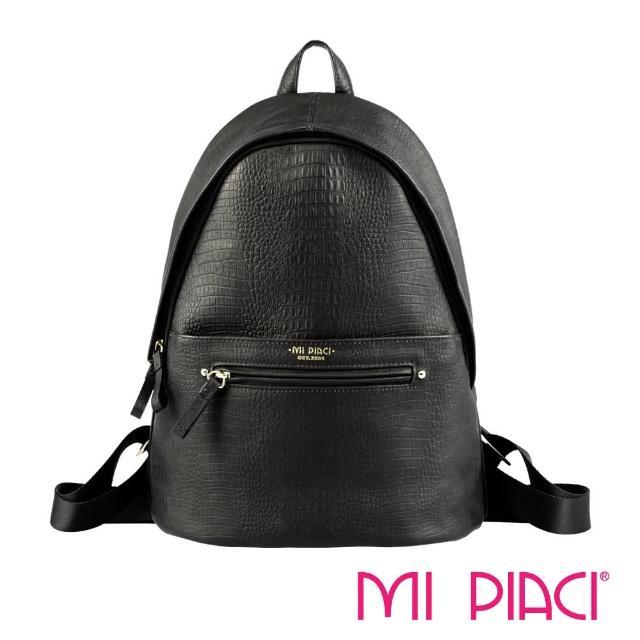 【MI PIACI】NINA系列-壓鱷魚紋後背包(1993004-黑色)