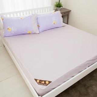 【奶油獅】素雅葉語系列-台灣製造-100%精梳純棉床包二件組(幻紫-單人加大3.5尺)
