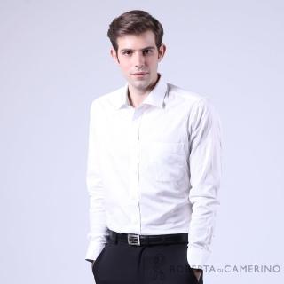 【ROBERTA諾貝達】進口素材 台灣製 合身版 純棉花紋緹花長袖襯衫(白色)