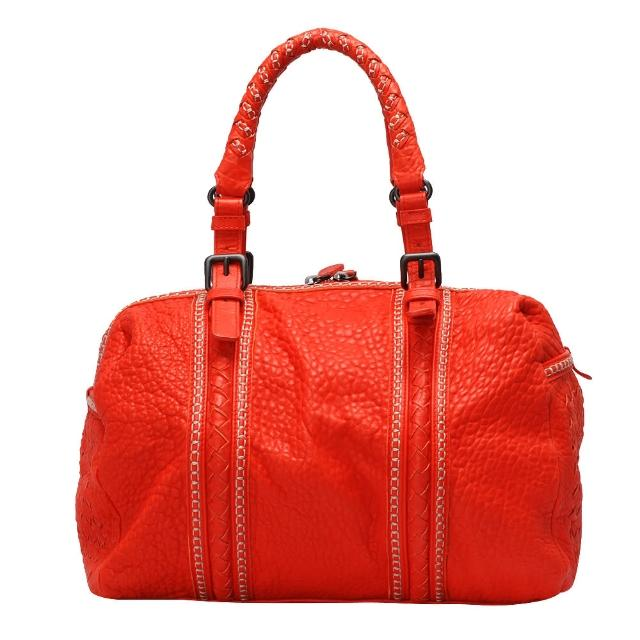 【BOTTEGA VENETA】粒面小羊皮編織縫線造型手提波士頓包(橘紅283842-RED)