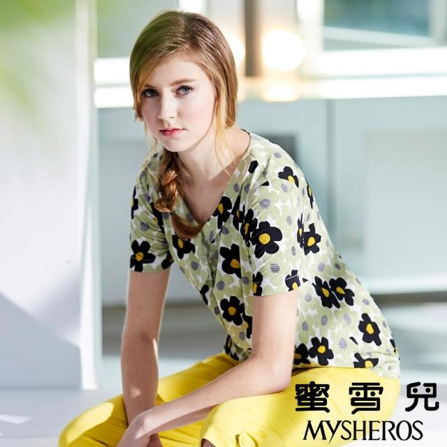 【蜜雪兒mysheros】滾邊滿版花朵印花彈性上衣(淺綠)