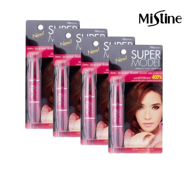 【Mistine】Mistine SUPER MODEL 4D 二合一纖長濃密雙頭睫毛膏4入(泰國彩妝品牌睫毛膏)