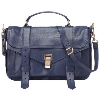 【Proenza Schouler】PS1Medium Saddle山羊皮斜背包(中-夜空藍H00002-L001B-5001-N)