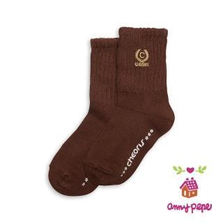【annypepe】兒童純棉短襪-咖啡刺繡款
