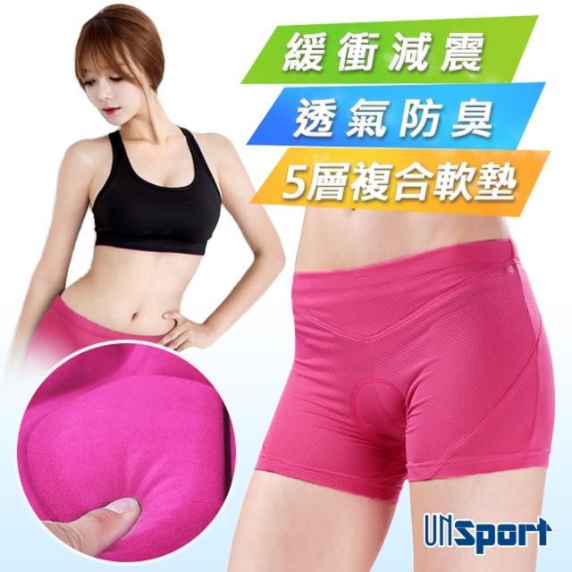 【Un-Sport高機能】女吸排蝶網軟墊單車內褲(車褲/騎行內著-中大尺碼)