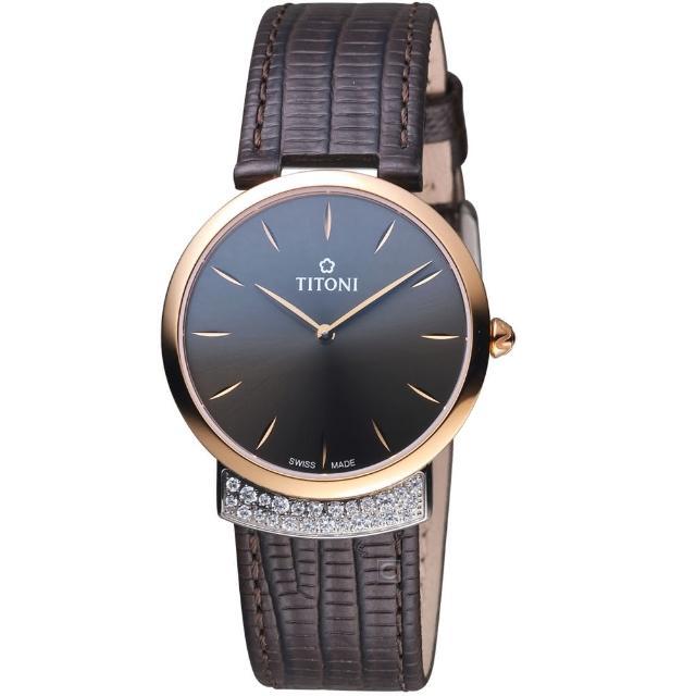 【TITONI】MADEMOISELLE優雅伊人系列皮革腕錶(TQ42912SRG-ST-592)