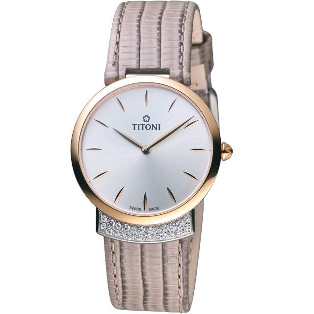 【TITONI】MADEMOISELLE優雅伊人系列皮革腕錶(TQ42912SRG-ST-590)