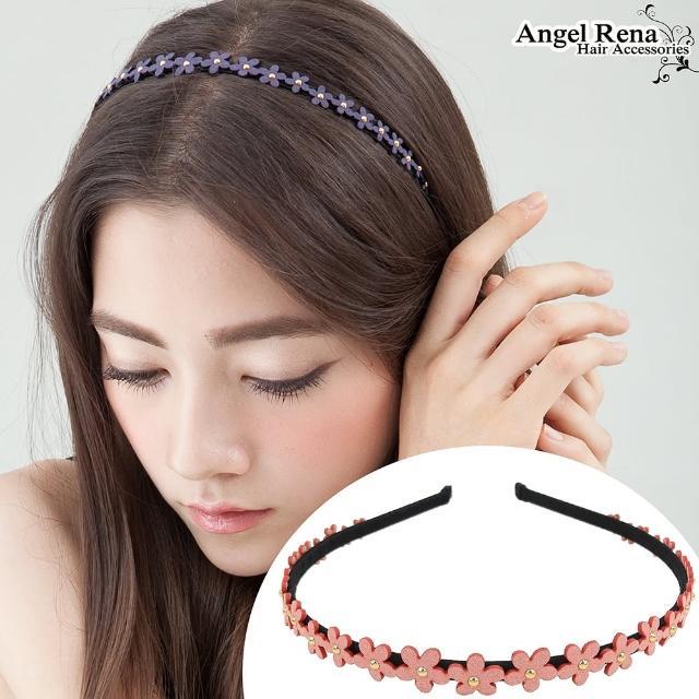 【Angel Rena】花朵麂皮亮珠髮箍(粉紅)