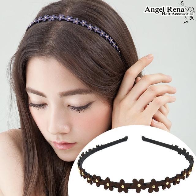 【Angel Rena】花朵麂皮亮珠髮箍(深咖)