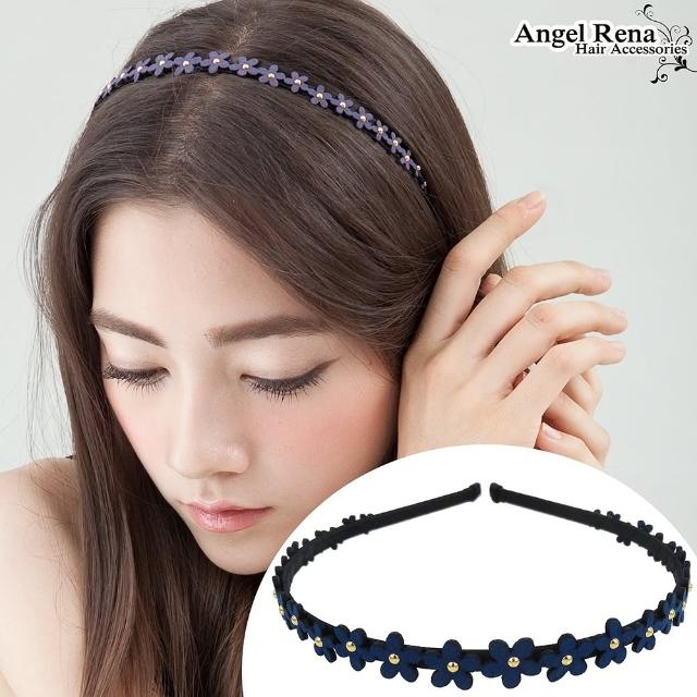 【Angel Rena】花朵麂皮亮珠髮箍(深藍)