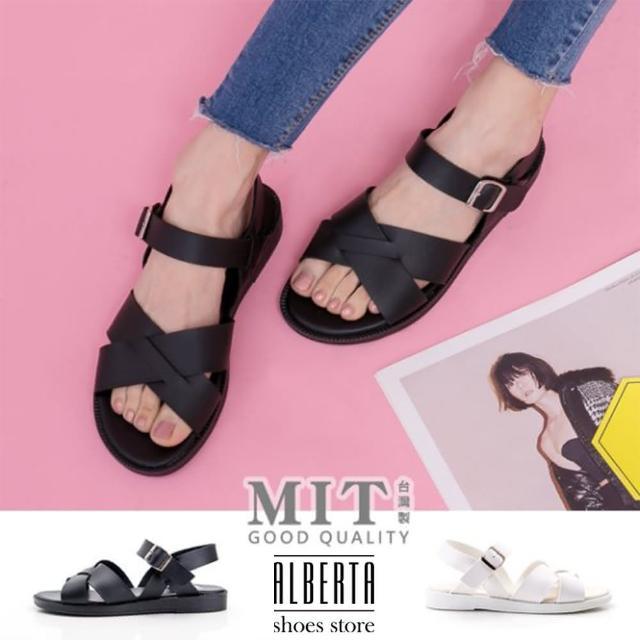 【Alberta】MIT台灣製韓版伸縮帶交叉露趾涼拖鞋(黑)