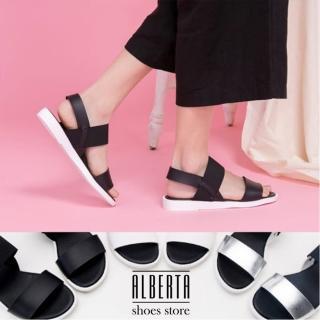 【Alberta】MIT台灣製原宿太空感一字平底伸縮帶露趾涼鞋(黑)