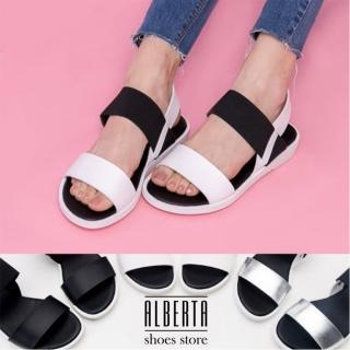 【Alberta】MIT台灣製原宿太空感一字平底伸縮帶露趾涼鞋(白)