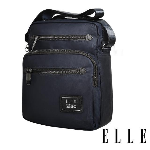 【ELLE】城市都會休旅系列 大容量多隔層機能收納7吋平板休閒直式斜背/側背包(深藍 EL83495)
