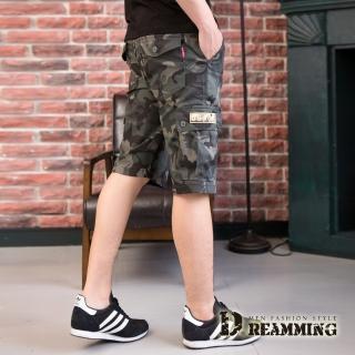 【Dreamming】街頭潮感迷彩休閒鬆緊工作短褲(灰色)