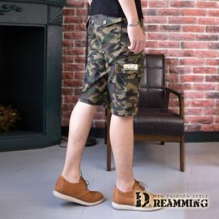 【Dreamming】街頭潮感迷彩休閒鬆緊工作短褲(黃色)