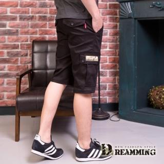 【Dreamming】街頭潮感素面休閒鬆緊工作短褲(黑色)